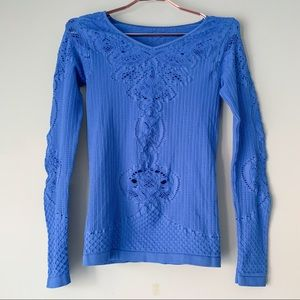 Free People Blue Seamless Perforated Top